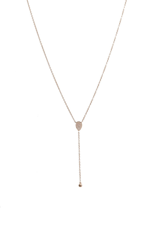 14K Rose Gold Diamond Teardrop Lariat