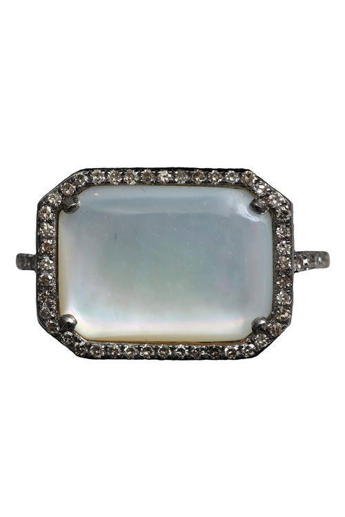 Pave Diamond Rectangular Ring