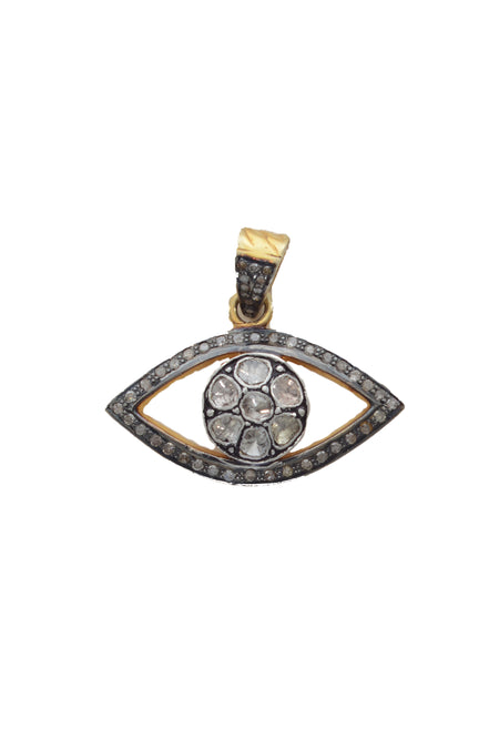 Large Oxidized Disc with Pave Diamond Surround