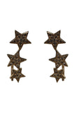 14K Yellow Gold Star Climber Earrings