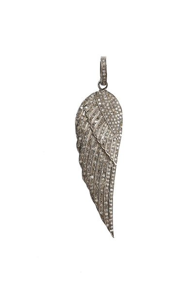 Oxidized Pave Diamond Angel Wing Pendant