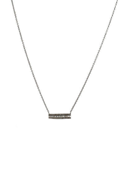 Oxidized Chain with Baguette Diamond Bar Necklace