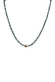 Handbeaded London Blue Topaz with 14K Yellow Gold Diamond Necklace