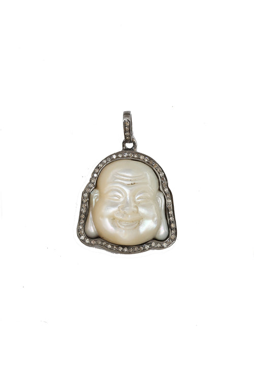 Oxidized Pave Diamond White Mother of Pearl Buddha Pendant
