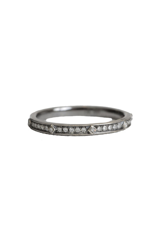 14K Black Rhodium Pave Diamond Studded Band