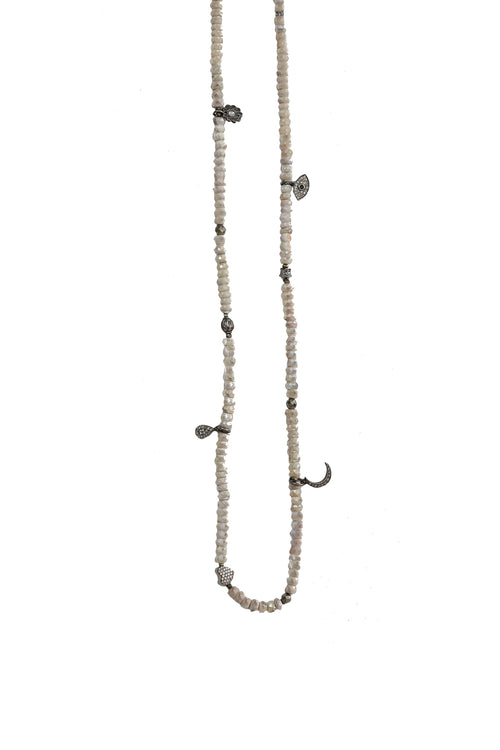 Handbeaded Silverite Chain with Oxidized Pave Diamond Beads