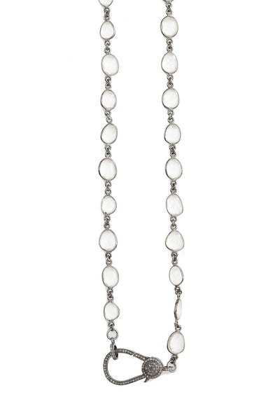 Oxidized Chain with Clear Quartz and Oxidized Pave Diamond Large Paper Clip Clasp