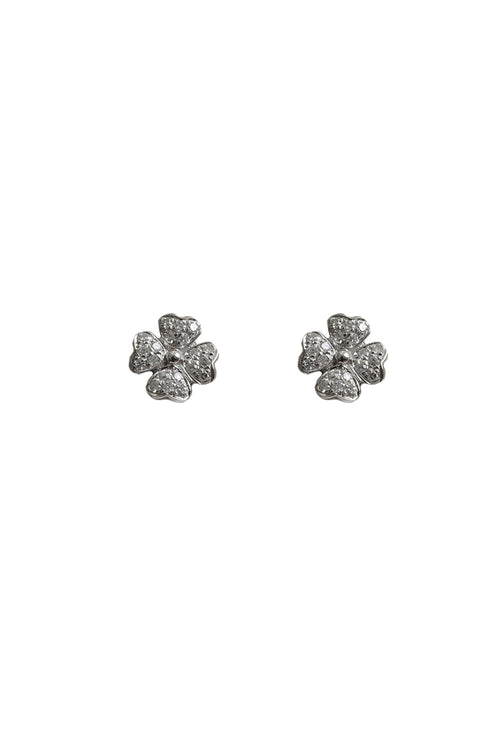 18K White Gold Flower Studs