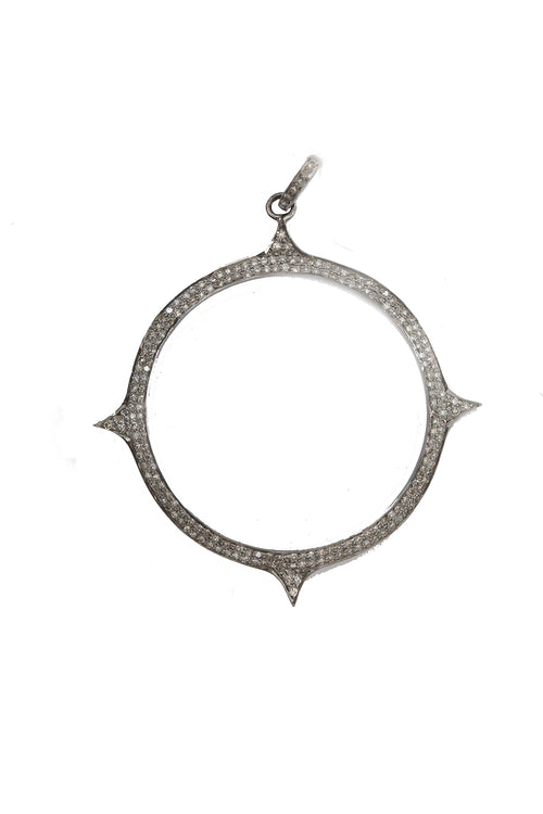 Oxidized Pave Diamond Open Pointed Circle