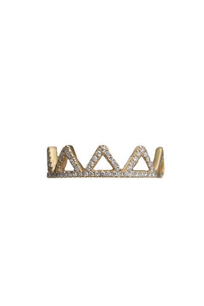 14K Yellow Gold Ring with 4 Pave Diamond Triangles