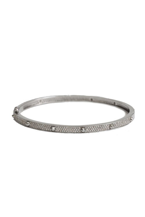 Oxidized Pave Diamond Spike Bangle