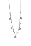 Oxidized Diamond Daisy Dangles Necklace