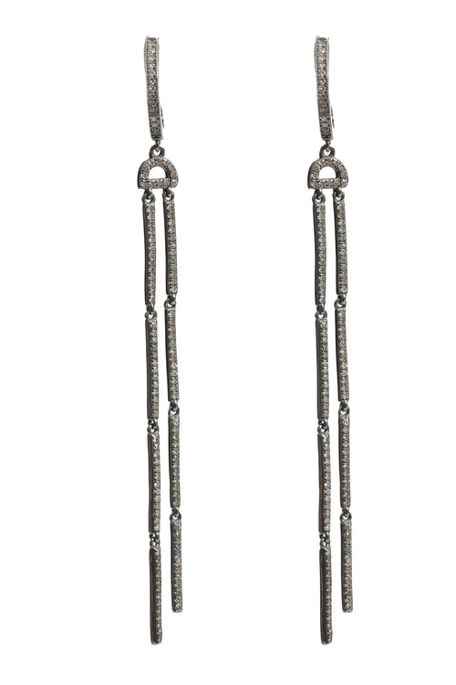 2 Strand Long Pave Diamond Earring