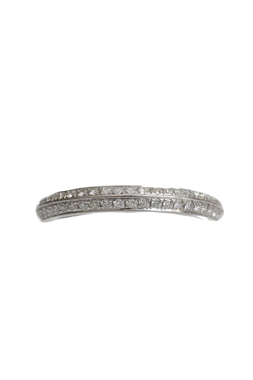 14K White Gold 2 Diamond Line Halfway Band