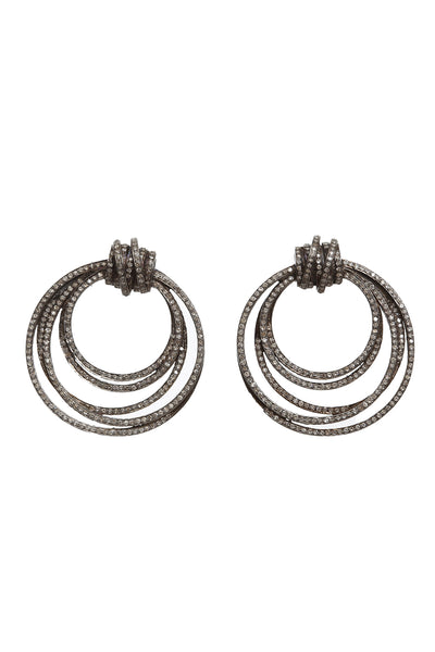 Oxidized Pave Diamond Door Knocker Earrings