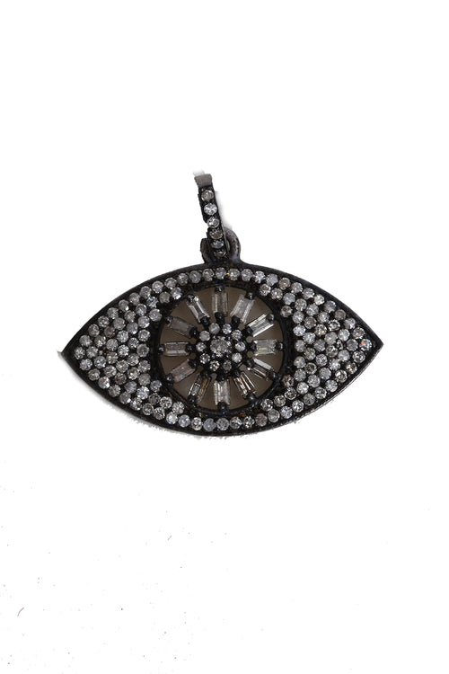 Oxidized Pave Diamond and Baguette Eye Pendant