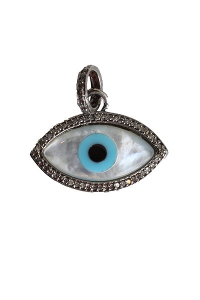 Oxidized Diamond Mother of Pearl Eye Pendant