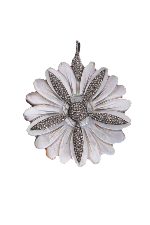 Oxidized Diamond Gray Mother of Pearl Daisy Pendant