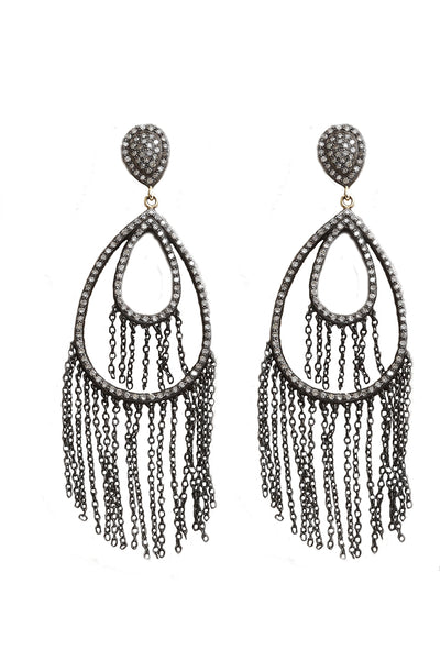 Oxidized Pave Diamond Tear Drop Fringe Earrings