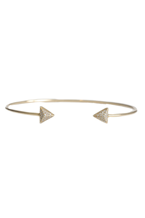 14K Yellow Gold Cuff Bracelet with Double Pave Diamond Pyramids