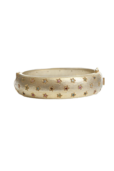 Plated 18K Yellow Gold Multi Sapphire Bangle