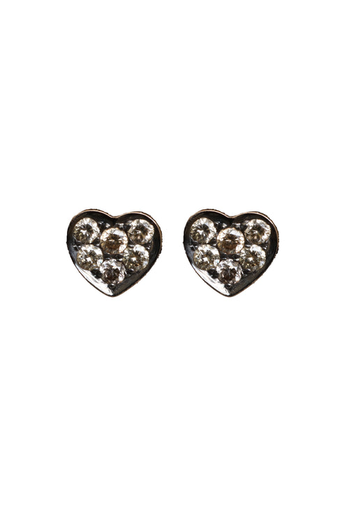 14K Rose Gold Brown Pave Diamond Heart Studs