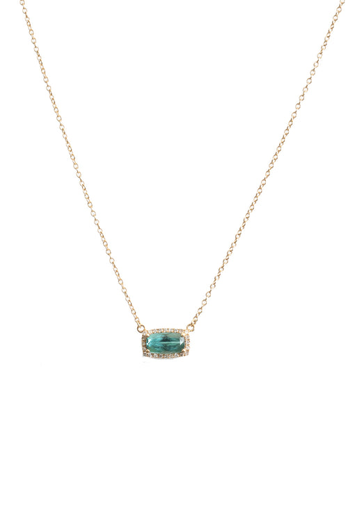 14K Yellow Gold Pave Diamond Cushion Cut Paraiba Tourmaline Necklace