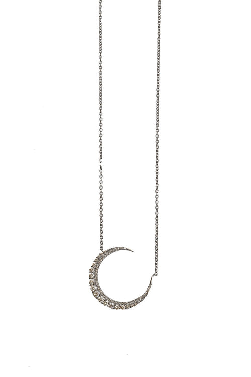 Oxidized Full Cut Diamond Crescent Moon Necklace