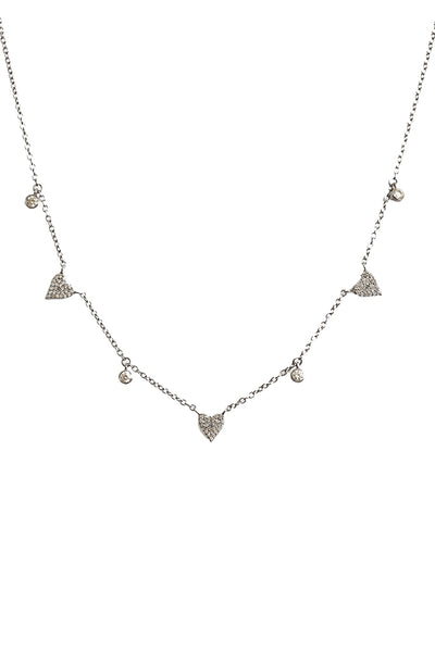 Oxidized Diamond Hearts & Full Cut Diamond Drop Necklace