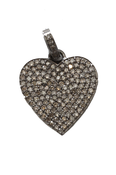 Oxidized Pave Diamond Heart Pendant