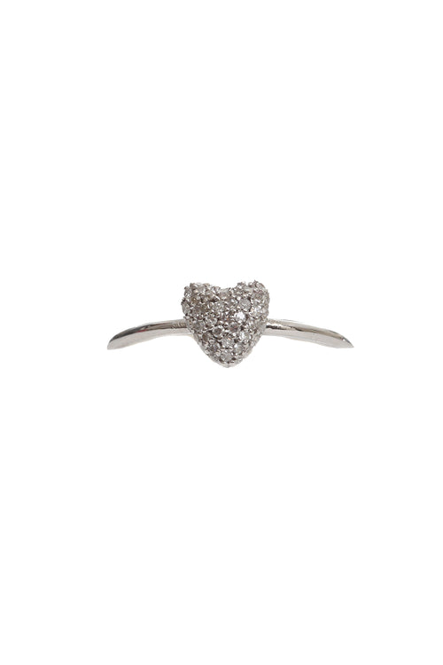 14K White Gold Pave JEN Heart Ring