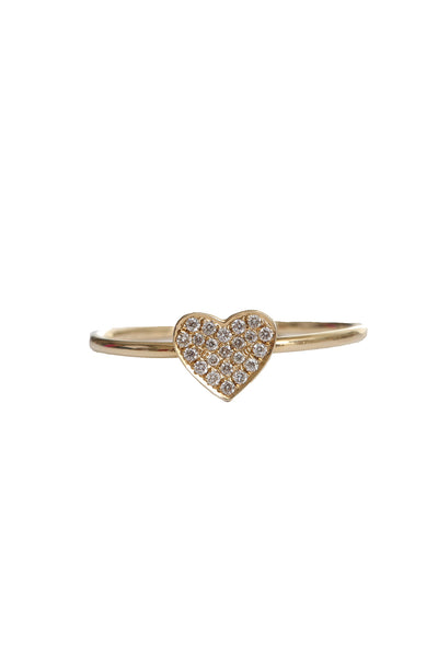 14K Yellow Gold Pave Diamond Heart Ring