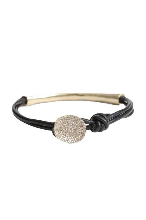 14K Yellow Gold Pave Diamond Black Leather Bracelet