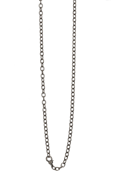 Oxidized Chain with Pave Diamond Clasp