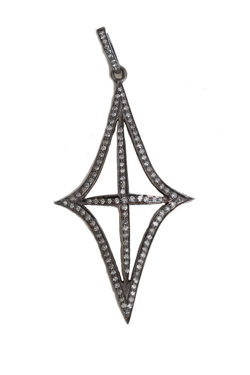Oxidized Pave Diamond Marquee Shaped Pendant