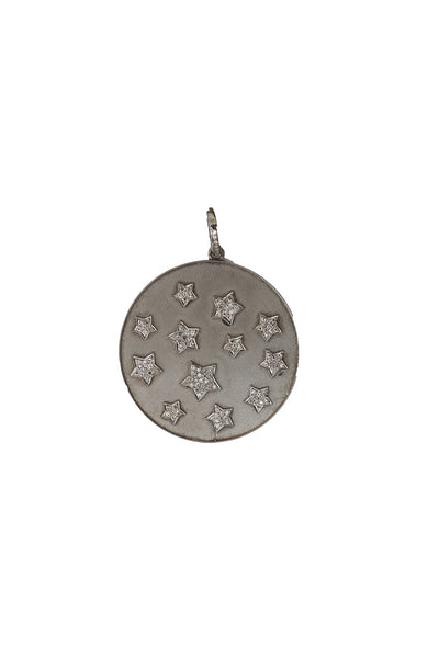 Oxidized Matte Disc with Pave Diamond Stars Pendant