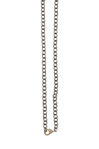 Oxidized Matte Silver Chain with 14K Yellow Gold Diamond Clasp