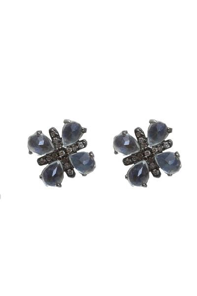 Oxidized Pave Diamond Moonstone Studs