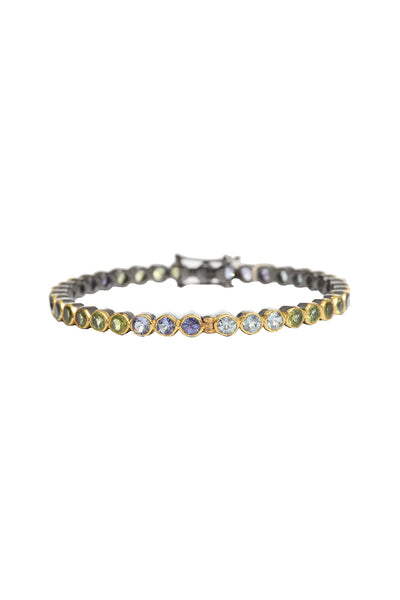 Oxidized and 18K Yellow Gold Plated Multi Sapphire Bangle