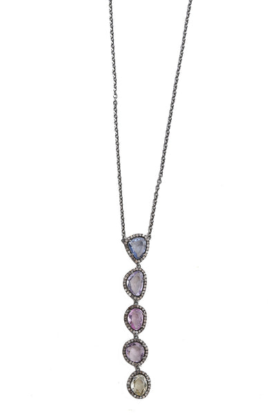 Oxidized Necklace with Multi Colored Sapphire with Diamonds