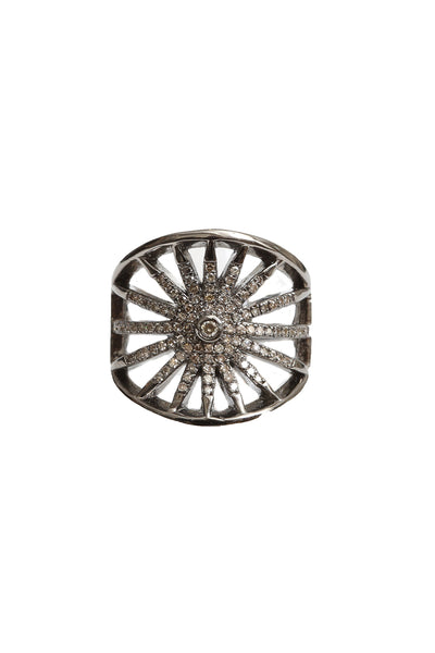 Oxidized Pave Diamond Starburst Ring
