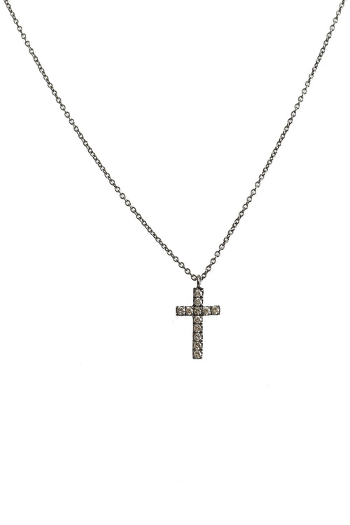 Black Rhodium Brown Diamond Cross Necklace