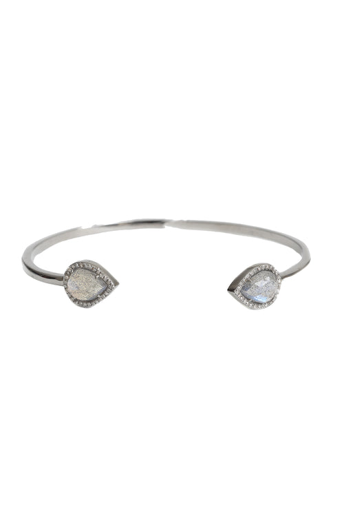 Oxidized Open Bangle with Pear Shaped Labradorite Stones & Pave Diamonds