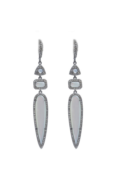 Oxidized Pave Diamond Mother of Pearl Earrings