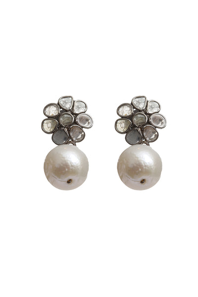 Oxidized Sliced Diamond Flower with Pearl Ball Earrings