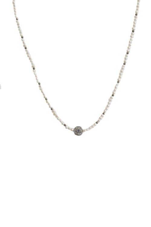 Handbeaded Pearl Necklace with Oxidized Diamond Evil Eye