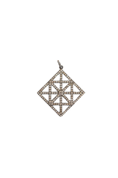 Oxidized Pave Diamond Abstract Pendant