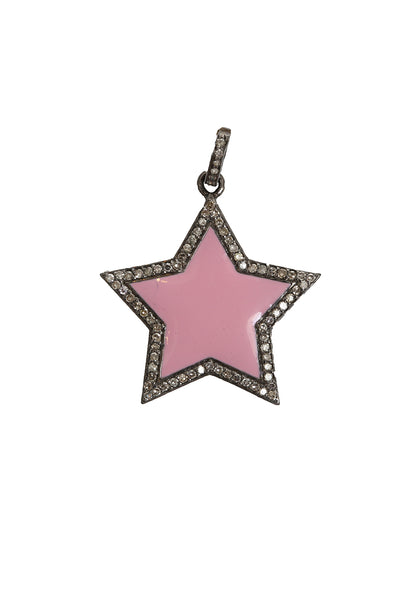 Oxidized Diamond Pink Enamel Star Pendant