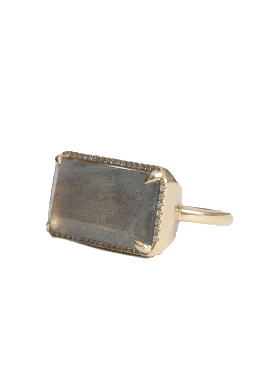 14K Yellow Gold Diamond & Large Labradorite Ring