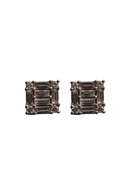 18K Rose Gold Baguette Diamond Studs
